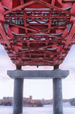 Bridge construction. Bridge over the river covered with ice Royalty Free Stock Photography