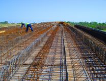 Bridge in construction process royalty free stock images