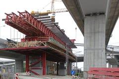 Bridge construction scaffolding Stock Images
