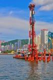 Bridge construction at sea. Ongoing widening, deepening and bridge connection project at sea. location : wanchai, hong kong Royalty Free Stock Photography