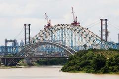 Bridge construction site. The photo is Bridge construction site royalty free stock photography