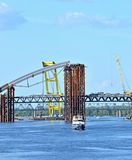 Bridge construction site Royalty Free Stock Images