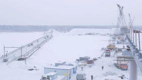 Bridge Construction Site above Arctic Circle stock video footage