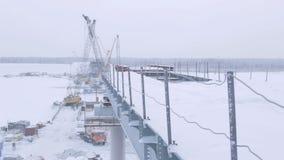 Bridge Construction Site above Arctic Circle stock footage
