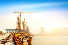Bridge construction site Royalty Free Stock Photography