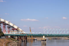 Bridge construction site on Danube river Royalty Free Stock Photos
