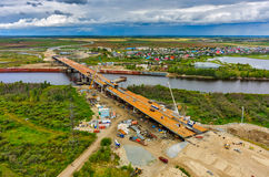 Bridge construction site. Tyumen. Russia Royalty Free Stock Images