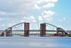 Bridge construction siteacross Dnieper Stock Image