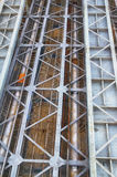 Bridge construction. Steel bridge structure view from below Royalty Free Stock Images