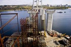 Bridge construction. Traffic highway. Traffic highway construction. Bridge on river Royalty Free Stock Images