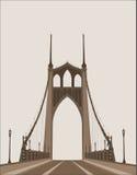 Bridge construction, vector. Bridge construction, monochromatic vector silhouette Stock Photo
