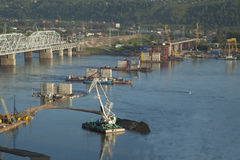 Bridge construction through Yenisei Stock Photos