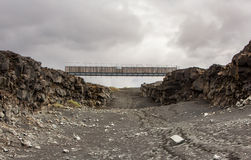 Bridge Between Continents, Iceland. Bridge between continents, located at Reykjanes peninsula Iceland, connects two continents, America to the west and Europe to stock photo