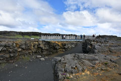 Bridge between continents. Located at Sandvik at Reykjanes peninsula Iceland, connects two continents, America to the west and Europe to the east .It lies royalty free stock photography