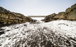 Bridge between Continents. The Bridge between two continents at Sandvík, on the Reykjanes peninsula of south west Iceland, is a small footbridge over a major stock photography