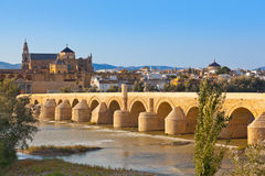 Bridge at Cordoba Spain. Nature and architecture background Stock Images