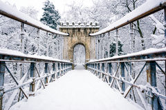 Bridge covered in snow. A beautiful bridge covered in snow Stock Images