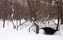 Bridge covered with snow - RAW format Stock Photo