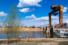 Bridge crane at Bay Royalty Free Stock Photo