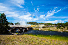 A bridge cross yellowstone river in yellowstone park Royalty Free Stock Image