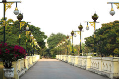A bridge crosses the channel. In the public park Stock Images