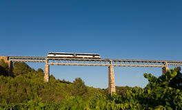 Bridge crossing. A narrow gauge train crossing a bridge over vineyards Stock Photos