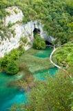 Bridge crossing the beautiful Plitvice lake in Cro Stock Photo