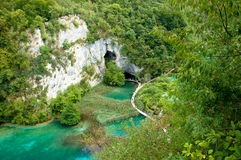 Bridge crossing the beautiful Plitvice lake in Cro Royalty Free Stock Image