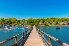 Bridge crossing canal in Gloucester Massachusetts USA royalty free stock photos