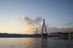 Bridge crossing Corinth Gulf strait Royalty Free Stock Image
