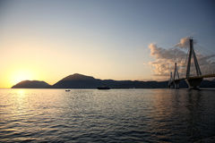 Bridge crossing Corinth Gulf strait Royalty Free Stock Photography