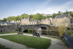 Bridge crossing the River Rance at Dinan, Brittany, France Stock Photography