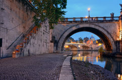 Bridge crossing the river Tiber Stock Photography
