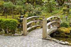 Bridge crossing stream in Japanese Garden Stock Image