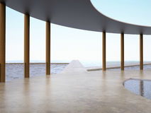 Bridge crossroad pavilion curve outdoors and Seascape Holidays - Beach from summer. Bridge crossroad pavilion curve outdoors and Seascape Holidays - Beach from stock photo