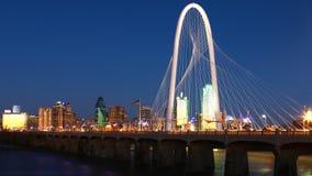 Bridge into Dallas at night stock photo