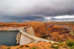 The bridge and dam. Stock Images