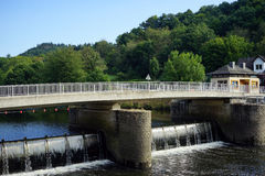 Bridge and dam on Our river Royalty Free Stock Photo