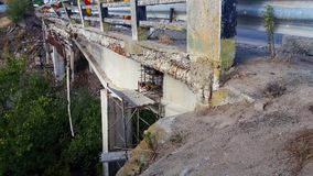 The bridge damage. View of Damage bridge road Stock Photo