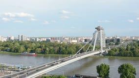 The bridge on the Danube river in Bratislava stock video