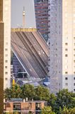 Bridge deck and highrise buildings. Rotterdam, The Netherlands, August 31, 2018: play of horizontal, vertical and diagonal lines, with the opened deck of royalty free stock photography