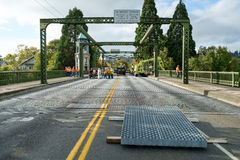 Bridge deck repair. Seattle, WA, USA September 24, 2016; New open steel road section ready for installation as the Montlake Bridge in Seattle gets repairs Stock Photos