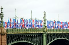 Bridge, decorated with flags in honor of the championship in St. Petersburg football. stock image
