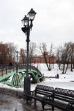 A bridge decorated by street lights in Tsaritsyno park in Moscow Stock Photography