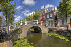 Bridge in Delft, Holland. Bridge over a canal lined with trees in summer in Delft, Holland Royalty Free Stock Photos
