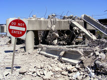 Bridge-Demolition-Disasters. Bridge Demolition. Disasters, Demolished. Bridge Destroyed Royalty Free Stock Photography