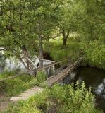 bridge den gammala over floden Arkivfoto