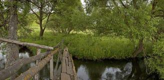 bridge den gammala over floden Arkivfoton