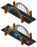 Bridge design with and without cars. Illustration Stock Photo