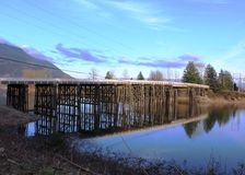 Bridge at Dewdney BC. An attractive bridge spans the Nicomen Slough between  Dewdney and Nicomen Island. Dewdney, originally named Johnson's Landing, is east of Stock Image